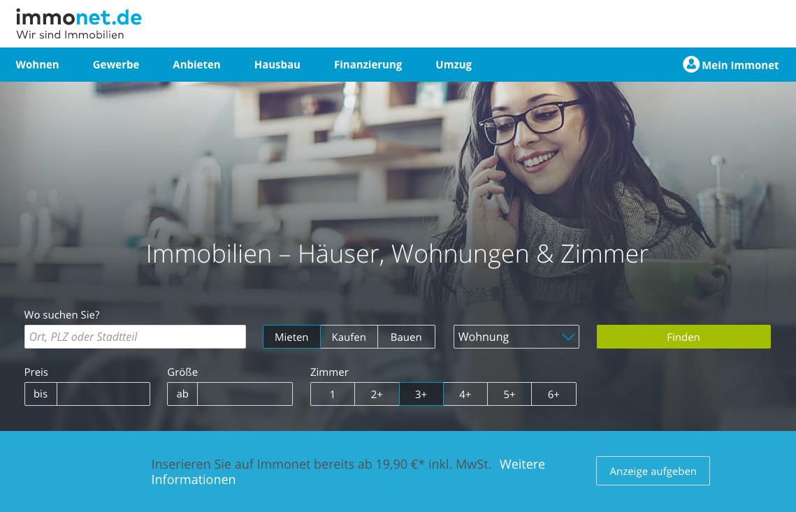 Immonet mit neuer Startseite - Immobilienportale.com  Immonet mit neu...